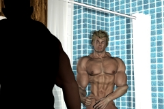Bullhead personal trainer Carlo Zarelli in the shower.
